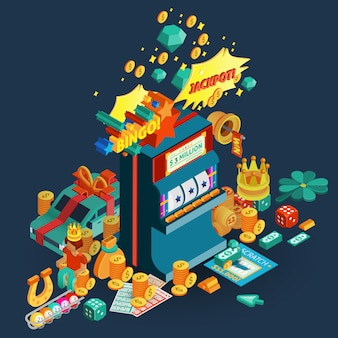 Lottery jackpot isometric composition