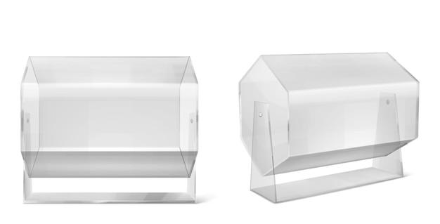 抽選機、白で隔離される透明なラッフルドラム