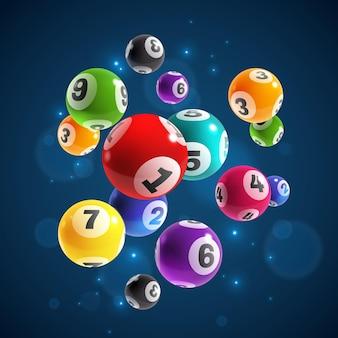 Номера лотереи. летающий реалистичный рисунок лотереи или бильярдных шаров, удачный случайный выигрыш, мгновенный джекпот, интернет-азартные игры, векторная концепция лото бинго на темном фоне