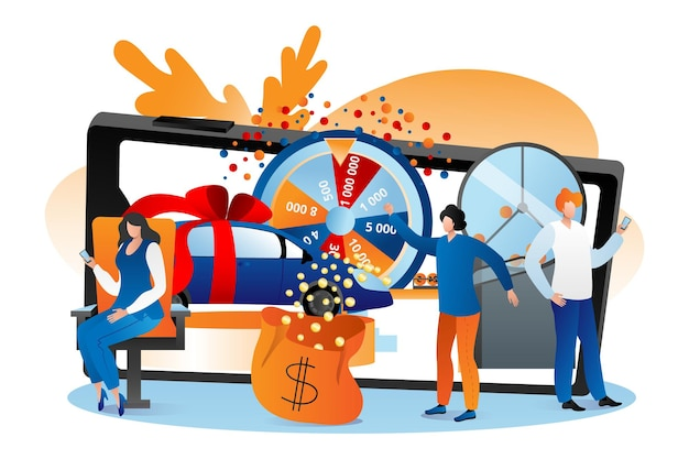 Lottery online, vector illustration. man woman people character win jackpot at internet fortune wheel, play lucky game in smartphone. winner get car, money prize, gamble entertainment concept.