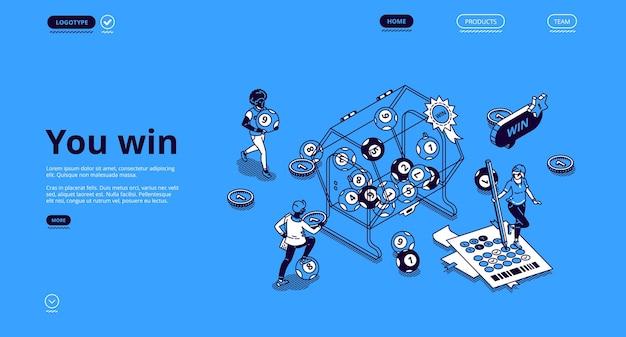 Изометрическая целевая страница выигрыша в лотерею с крошечными людьми вокруг огромного барабана с катящимися внутри шариками