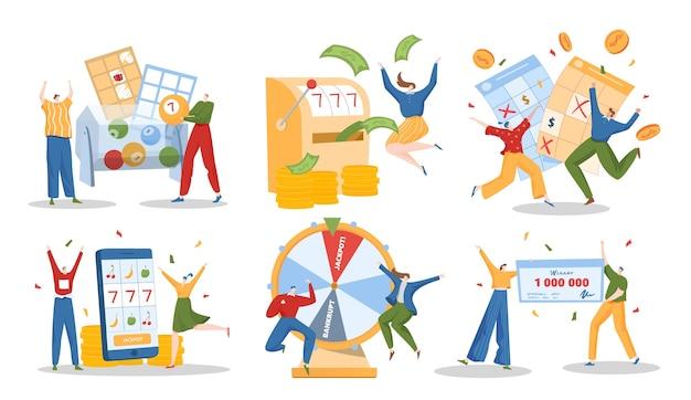 Набор иллюстраций победителей лотереи