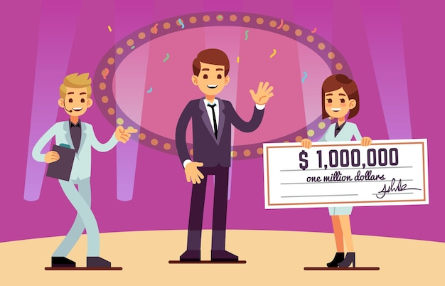 Lottery winner rewarding. happy man, bank cheque prize. cartoon lucky guy on stage, cute girl with reward. quiz or show jackpot win, start up vector. winner reward lottery prize illustration