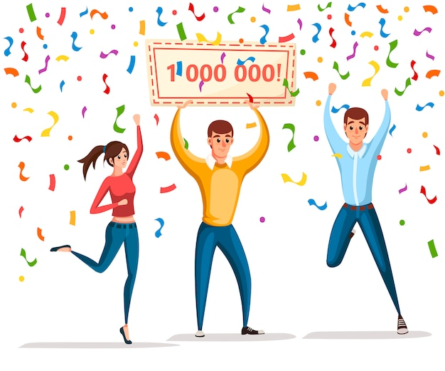 복권 당첨자. 여자와 남자는 승자 배너, 1000000으로 서 있습니다. 행복한 사람들. 백만을 획득하십시오. 만화 캐릭터 . 흰색 배경에 그림