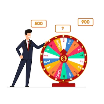 Lottery with wheel fortune vector illustration.