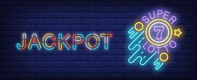 Знак неонового джекпота. супер lotto светящийся знак на фоне кирпичной стены.