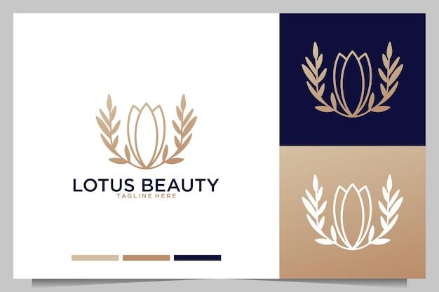 연꽃 아름다움 우아한 라인 아트 로고 디자인