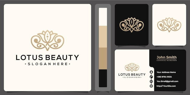 Lotus beauty monoline logo luxury with business card template