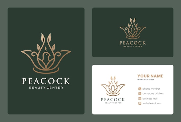 Lotus branch combined bird logo design with business card