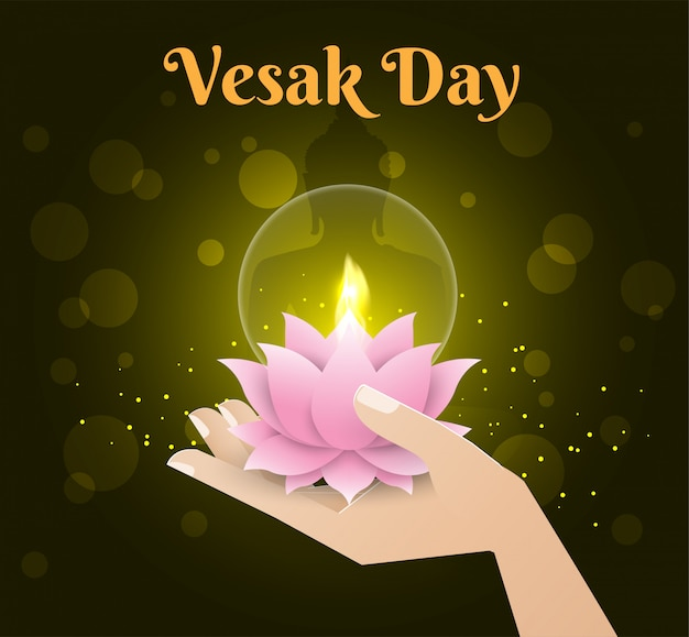 Lotus candle in hand happy vesak day background