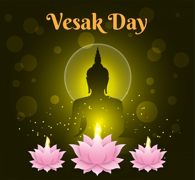 Lotus candle happy vesak day background buddha on black background