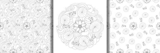 Lotus and fishes outline print and seamless patterns