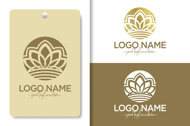 Lotus flower abstract logo with circle