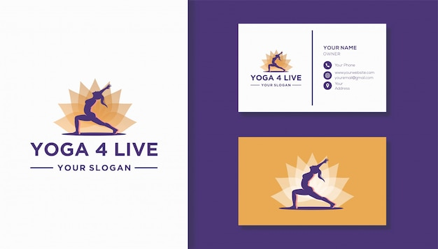 Цветок лотоса и логотип человека силуэт. логотип для компании йоги.