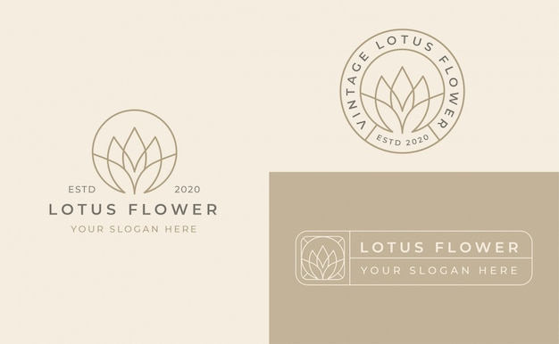 Lotus flower badge logo design
