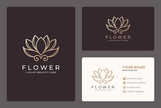 Lotus flower / beauty care logo design with business card template.