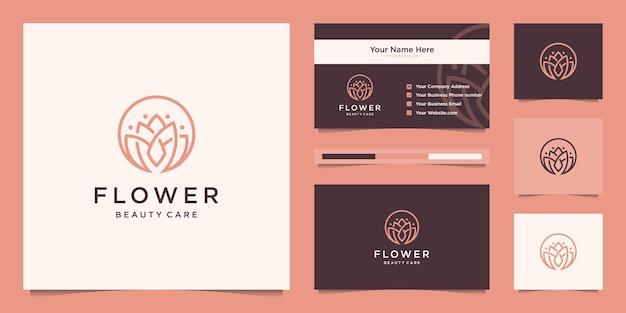 Дизайн линейного логотипа красоты цветок лотоса и визитная карточка