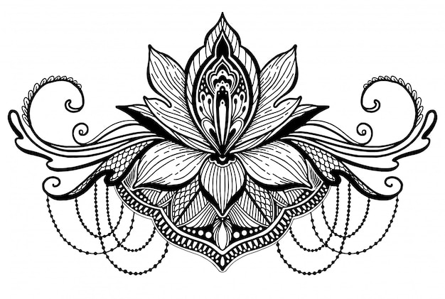 Lotus flower ethnic symbol