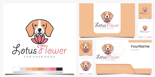 美しいラインアートのロゴデザインのインスピレーションであなたの犬のための蓮の花
