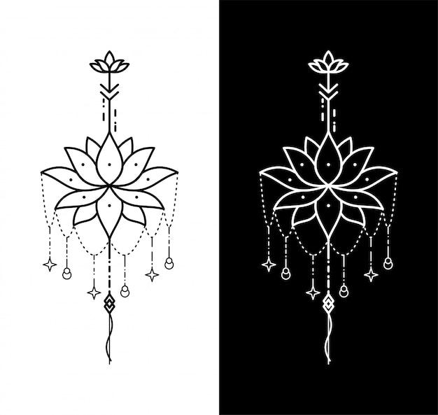 蓮の花の幾何学的なタトゥー