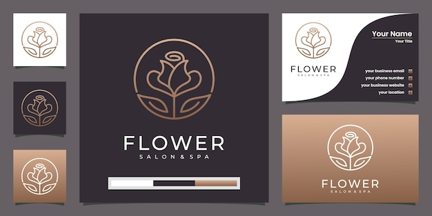 Lotus flower golden  line art style logo and business card