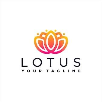 蓮の花のグラデーションのロゴのデザイン