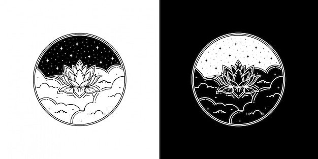 클라우드 모노 라인 디자인의 연꽃