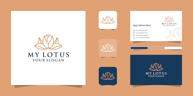 Lotus flower line art style logo design and business card