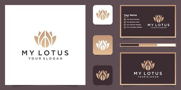 蓮の花ラインアートスタイルのロゴデザイン。ヨガセンター、スパ、ビューティーサロンの高級ロゴ。ロゴのデザイン、アイコン、名刺