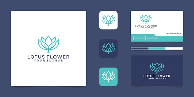 연꽃 라인 아트 스타일 로고 디자인. 요가 센터, 스파, 미용실 고급 로고. 로고 디자인, 아이콘 및 명함