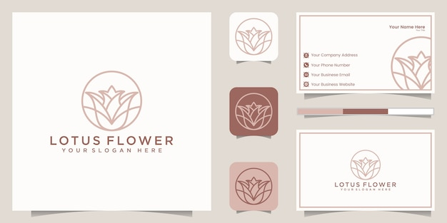 Lotus flower line art style logo design. yoga center, spa, beauty salon luxury logo. logo design, icon and business card