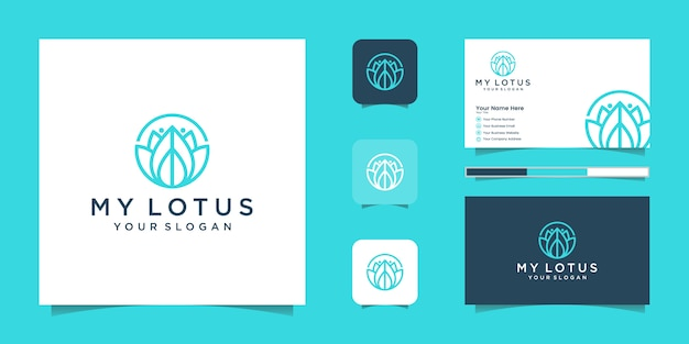 Логотип стиля арт линии цветок лотоса. центр йоги, спа, салон красоты роскошный логотип. логотип, значок и визитная карточка