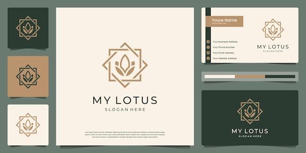 ロータスフラワーラインアートスタイル。ロゴは、スパ、美容、サロン、ブティックに使用できます。と名刺