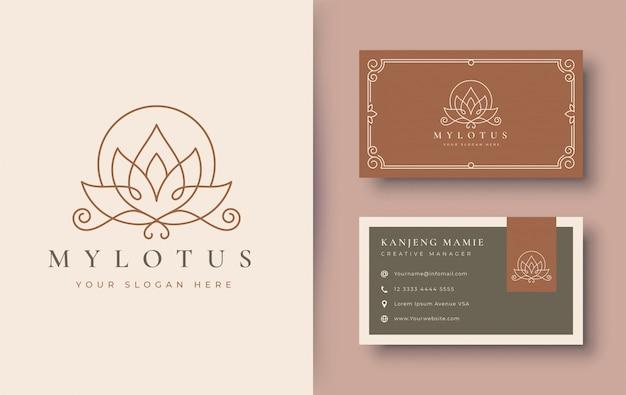 Логотип и дизайн визитной карточки с цветком лотоса