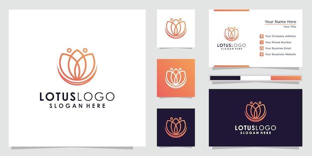 Дизайн логотипа и визитной карточки цветок лотоса.