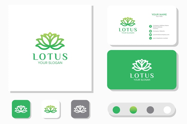 Lotus flower logo design. icon and business card