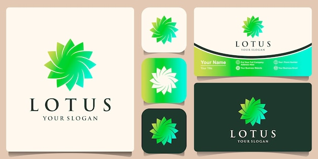 Lotus flower logo design inspiration and business card