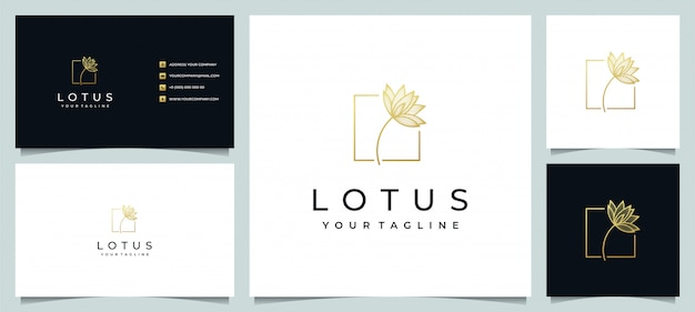 Lotus flower logo design line art style with business card