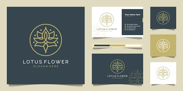 Lotus flower logo design with line art style. logos can be used for spa, beauty salon, decoration, boutique, cosmetics and business card