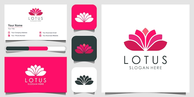 Lotus flower logo  design. yoga center, spa, beauty salon luxury logo.  logo design,  and business card
