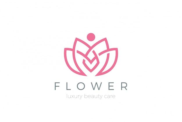 로터스 꽃 로고 아이콘입니다. 선형 스타일
