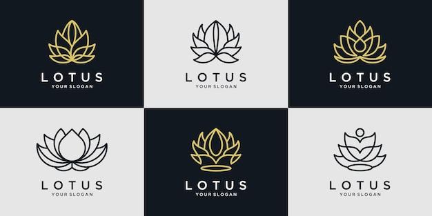 蓮の花のロゴのアイコンセット