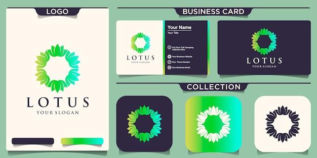 Логотип цветок лотоса с дизайном визитной карточки