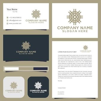 Lotus flower mandala and business card premium