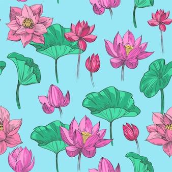 ハスの花。シームレスなパターン