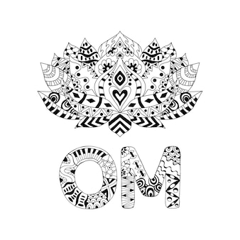 Lotus flower silhouette and symbol om.