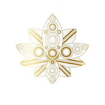 Lotus flower with geometric golden ornament linear illustration
