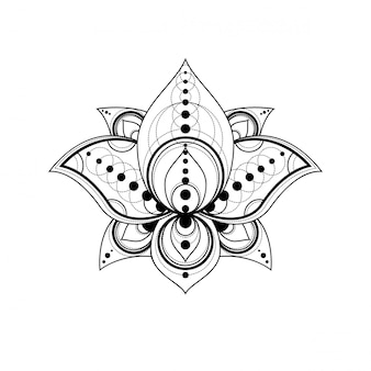 Lotus flower with geometric ornament linear illustration