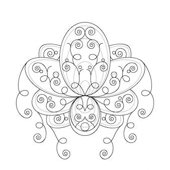 Цветок лотоса с геометрическим орнаментом линейной иллюстрации