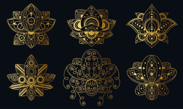 Lotus flower with geometric ornament linear illustrations set. indian sacred symbols pack